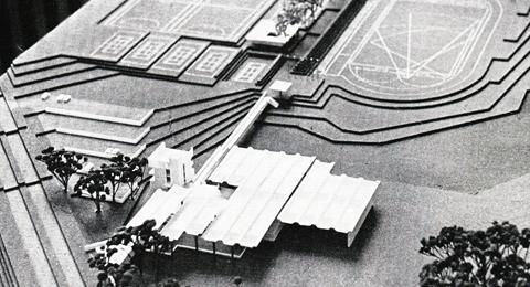 Modell: Preisgekrönter Entwurf für das Kieler Sportforum 1967